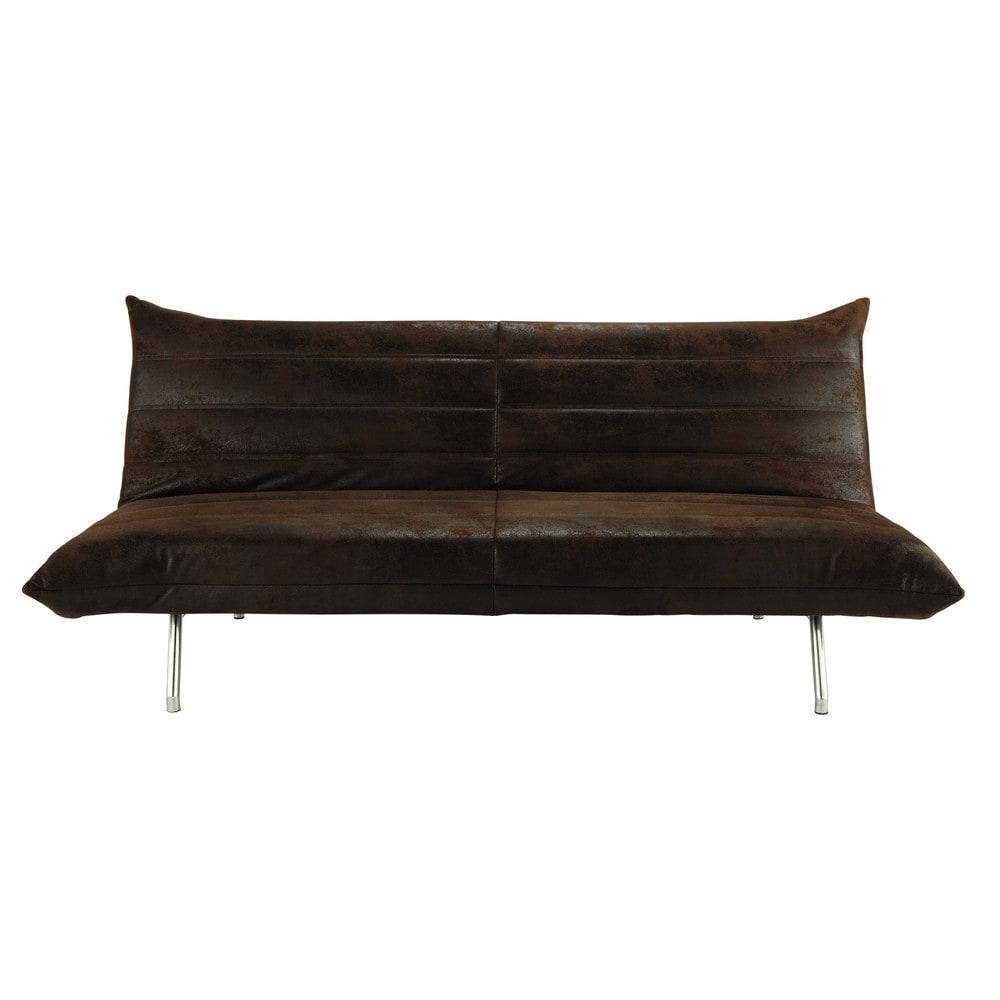 Brown 3 seater clic clac sofa bed fusion maisons du monde - Divan clic clac ikea ...