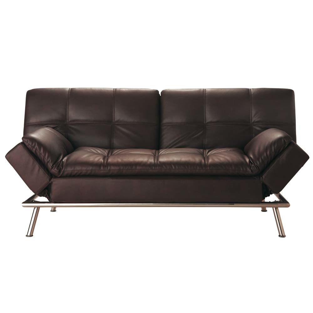 Brown 3 Seater Tufted Clic Clac Sofa Bed