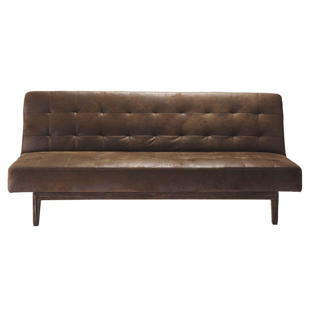brown 3 seater tufted clic clac sofa bed studio maisons du monde