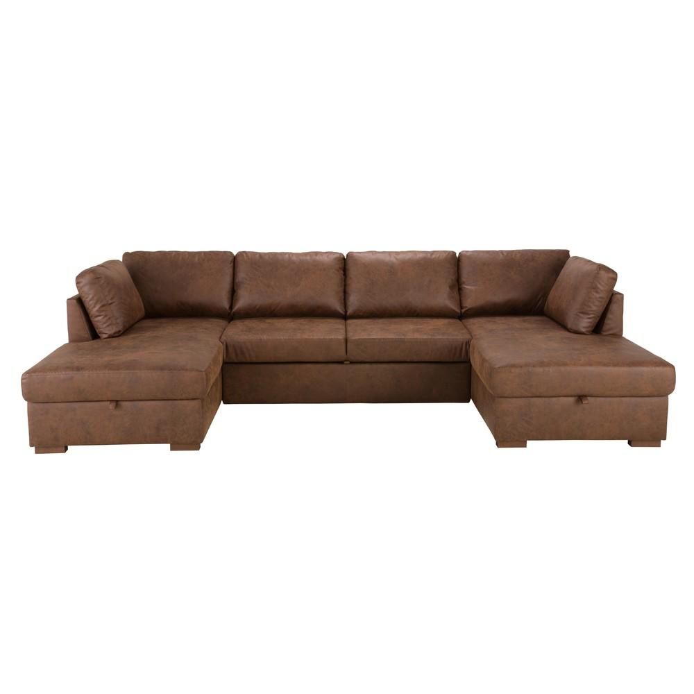 Brown 7-Seater Microsuede U-Shaped Sofa Bed