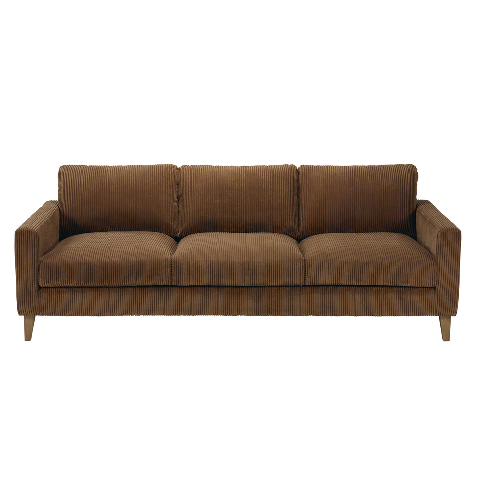 Brown corduroy 4 seater sofa holden maisons du monde for Brown corduroy couch