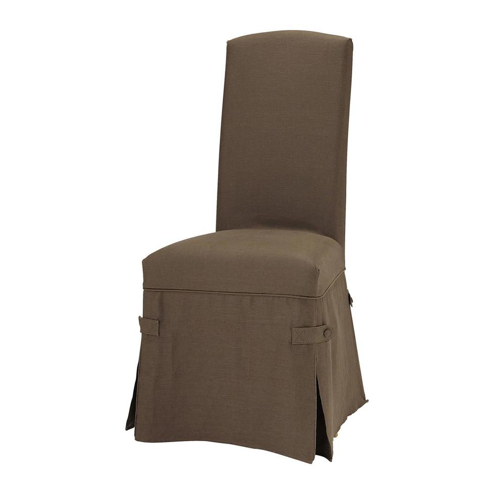 Brown linen chair slipcover alice alice maisons du monde for Linen furniture covers