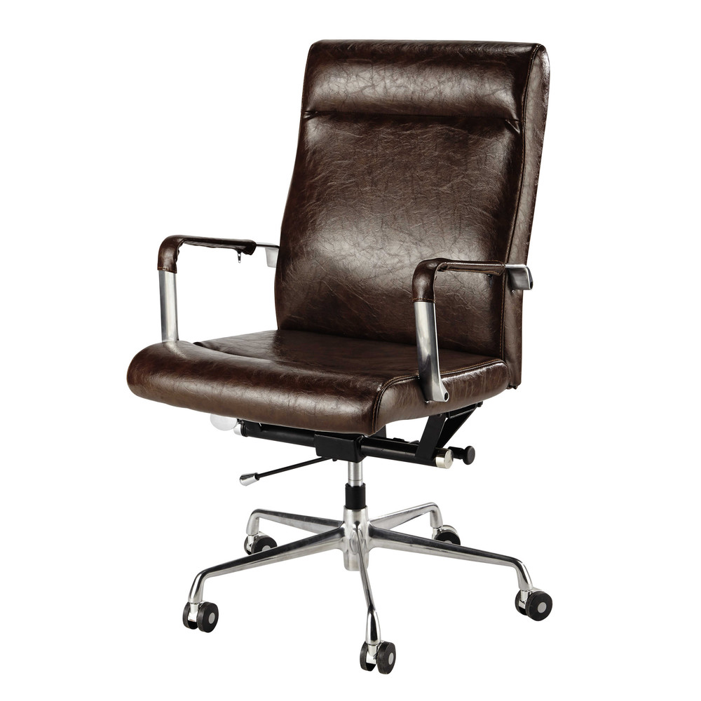 brown vintage office chair on castors teacher maisons du. Black Bedroom Furniture Sets. Home Design Ideas