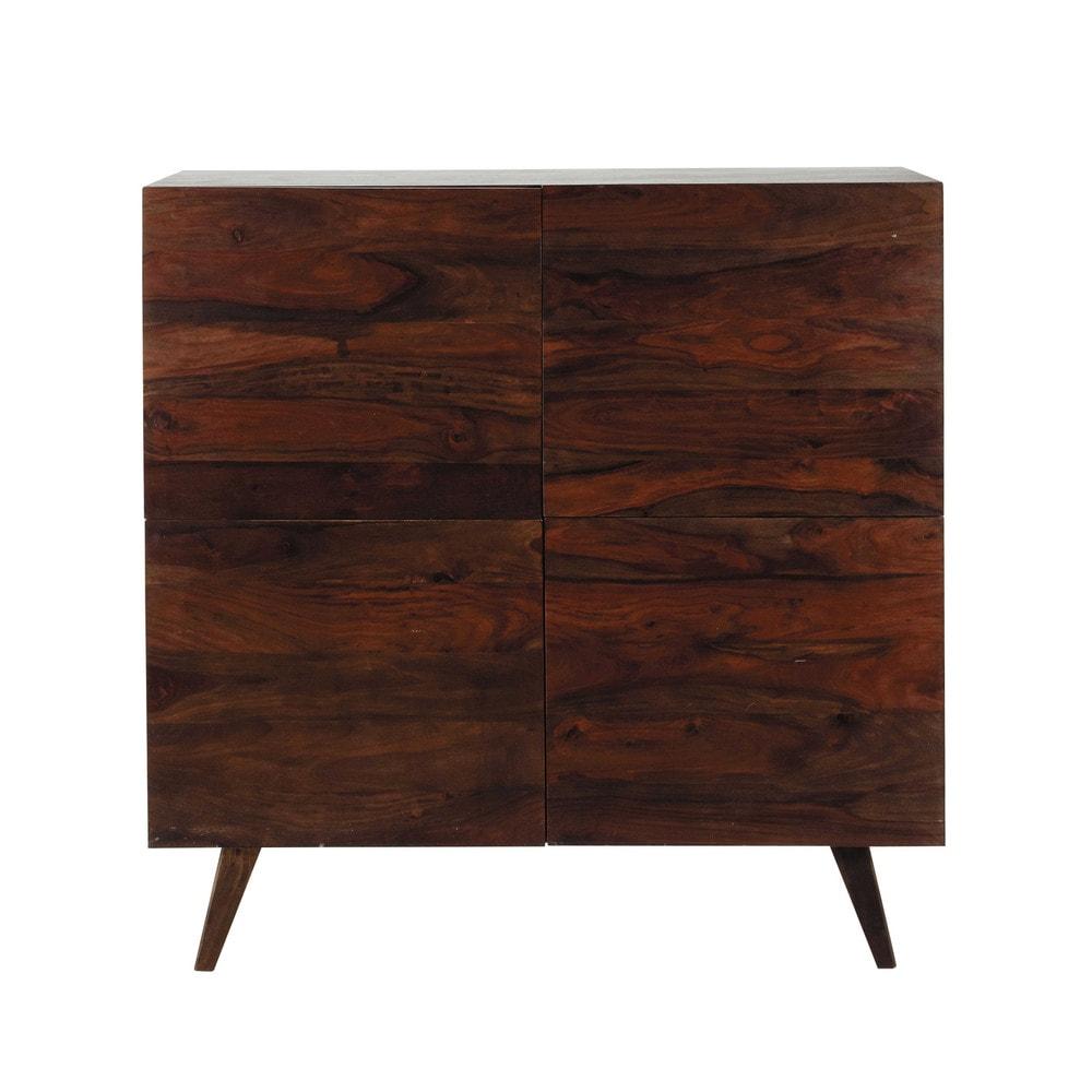 Bruin massief sheesham houten vintage hoog dressoir b 120 cm soho ...