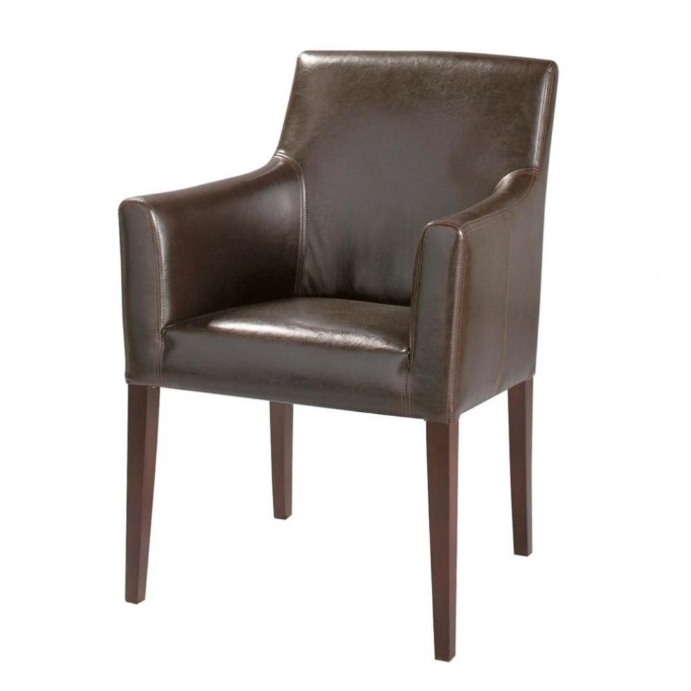 Bruine fauteuil met imitatie wengé poten Boston  Maisons du Monde