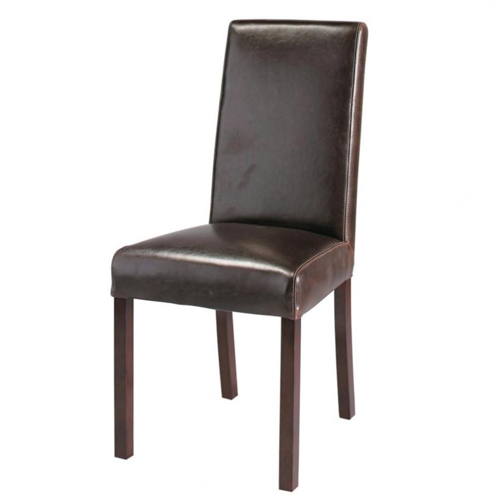 Bruine leren en houten stoel harvard maisons du monde for Leren stoel