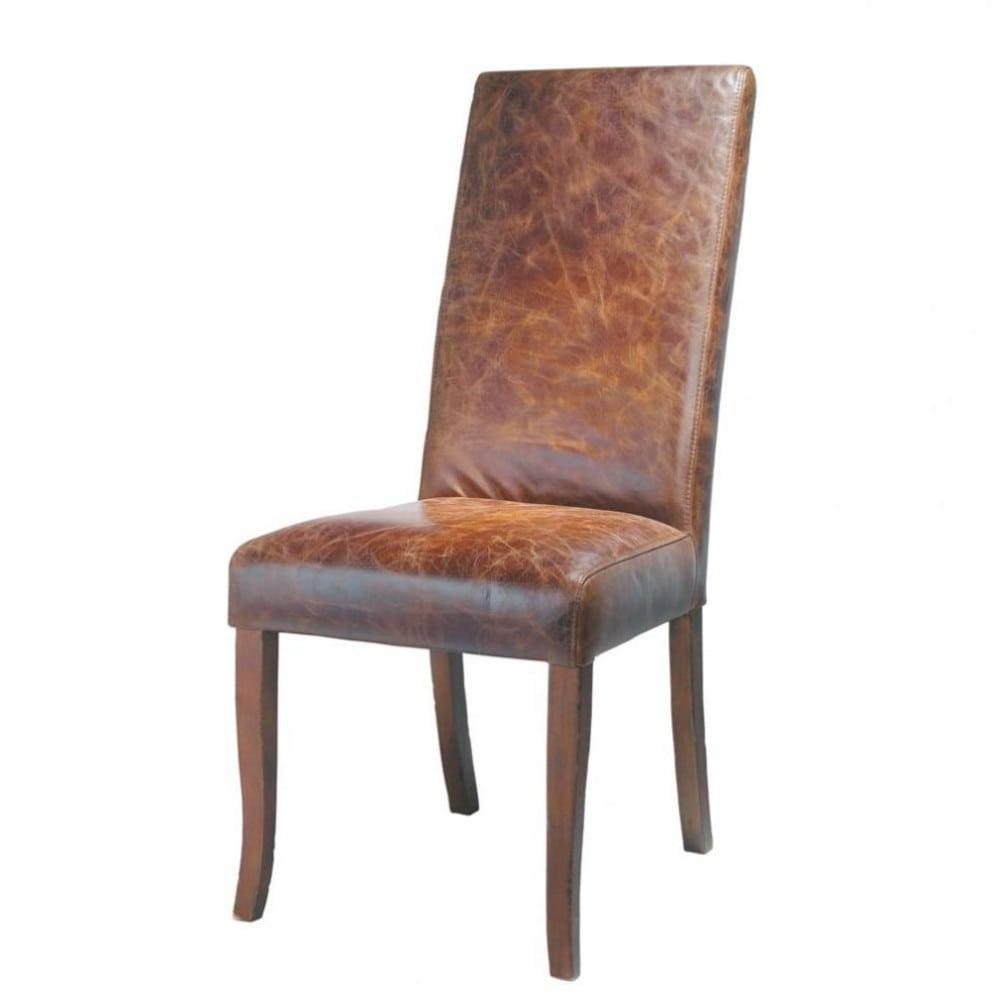 Bruine leren en houten stoel vintage maisons du monde for Bruine leren stoel