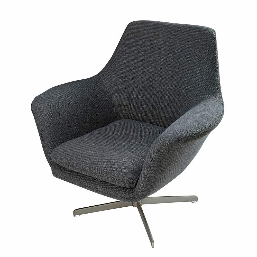 Brushed metal and grey fabric armchair Agency | Maisons du ...