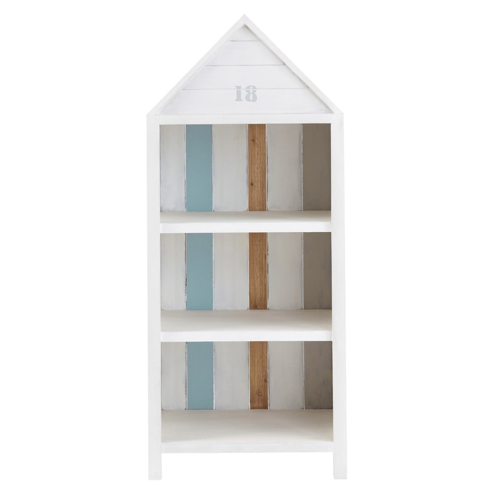 b cherregal aus holz im strandkabinenlook b 60 cm wei. Black Bedroom Furniture Sets. Home Design Ideas