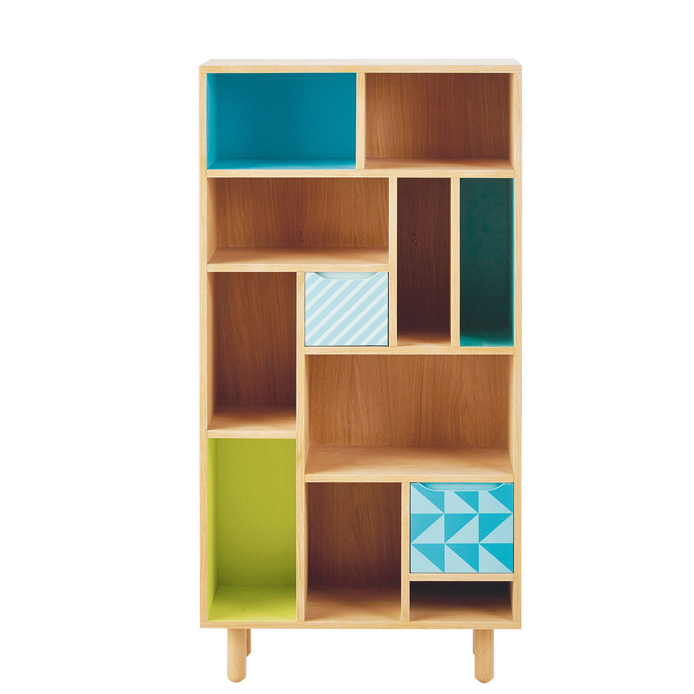b cherregal f r kinder aus holz blau gr n l 65 cm leo. Black Bedroom Furniture Sets. Home Design Ideas