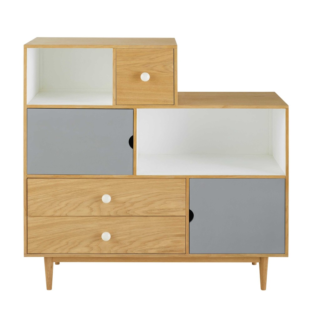 b cherschrank mit 2 t ren und 3 schubladen dreifarbig inuit maisons du monde. Black Bedroom Furniture Sets. Home Design Ideas