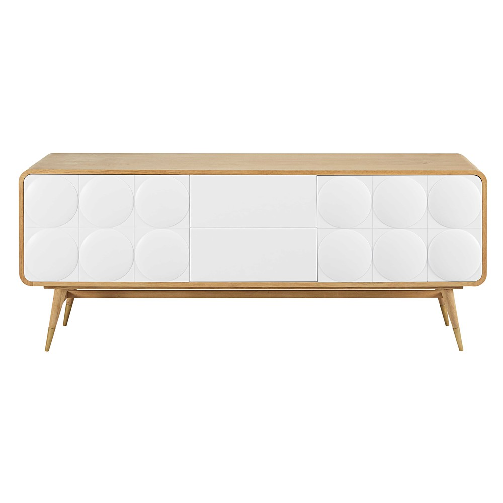 buffet 2 portes 2 tiroirs blanc monroe maisons du monde. Black Bedroom Furniture Sets. Home Design Ideas