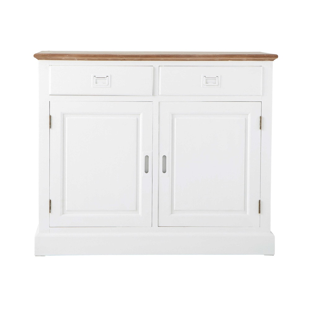 buffet 2 portes 2 tiroirs en paulownia blanc leandre maisons du monde. Black Bedroom Furniture Sets. Home Design Ideas