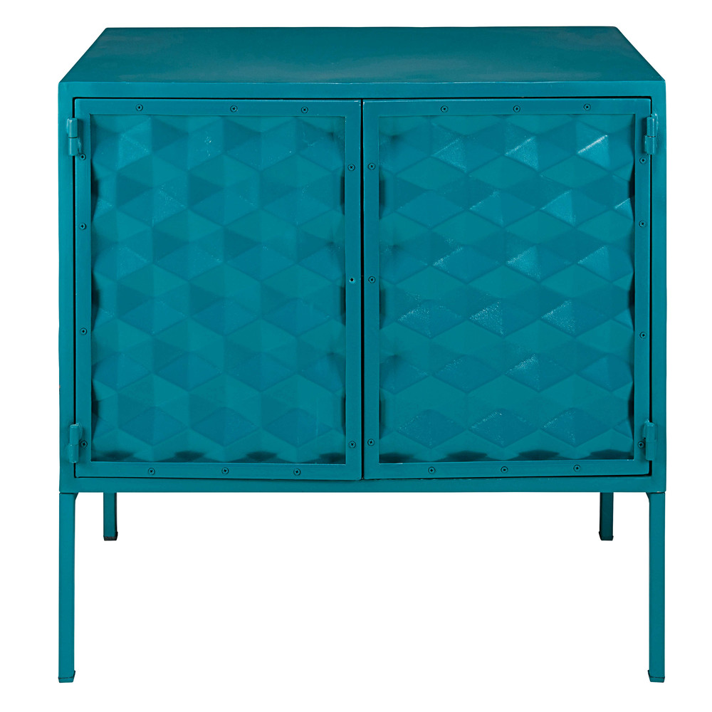 buffet 2 portes en m tal bleu canard mineapolis maisons du monde. Black Bedroom Furniture Sets. Home Design Ideas