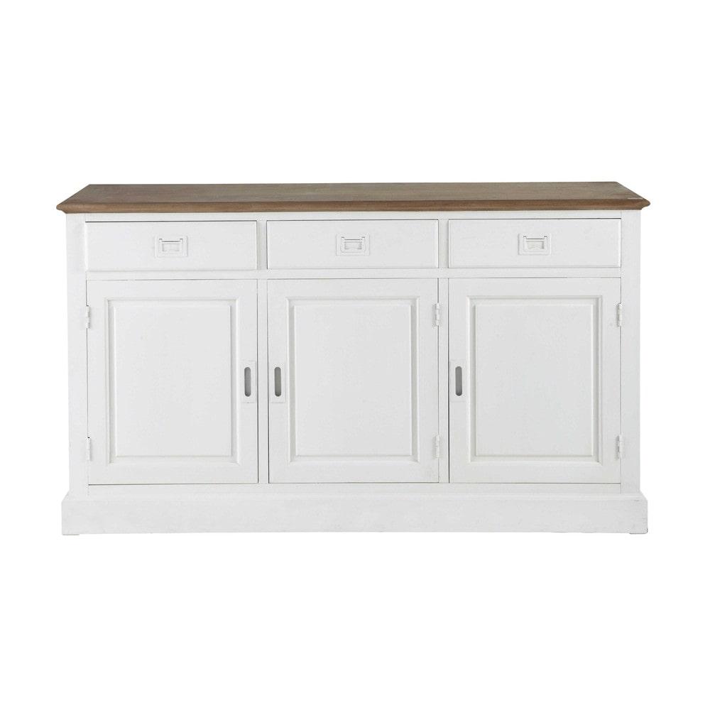 buffet 3 portes 3 tiroirs en paulownia blanc leandre maisons du monde. Black Bedroom Furniture Sets. Home Design Ideas