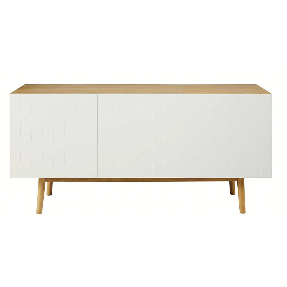 buffet 3 portes blanc motifs graphiques cubik maisons du. Black Bedroom Furniture Sets. Home Design Ideas