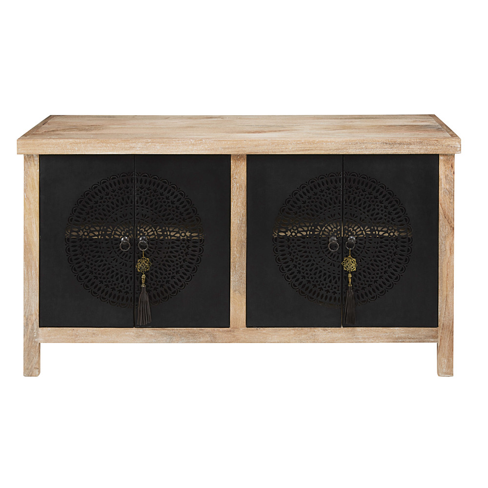 buffet 4 portes en manguier massif et m tal ajour noir menara maisons du monde. Black Bedroom Furniture Sets. Home Design Ideas