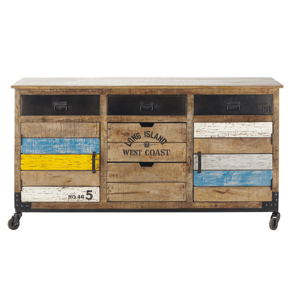 Buffet roulettes en manguier l 170 cm sailor maisons for Bois de manguier meuble