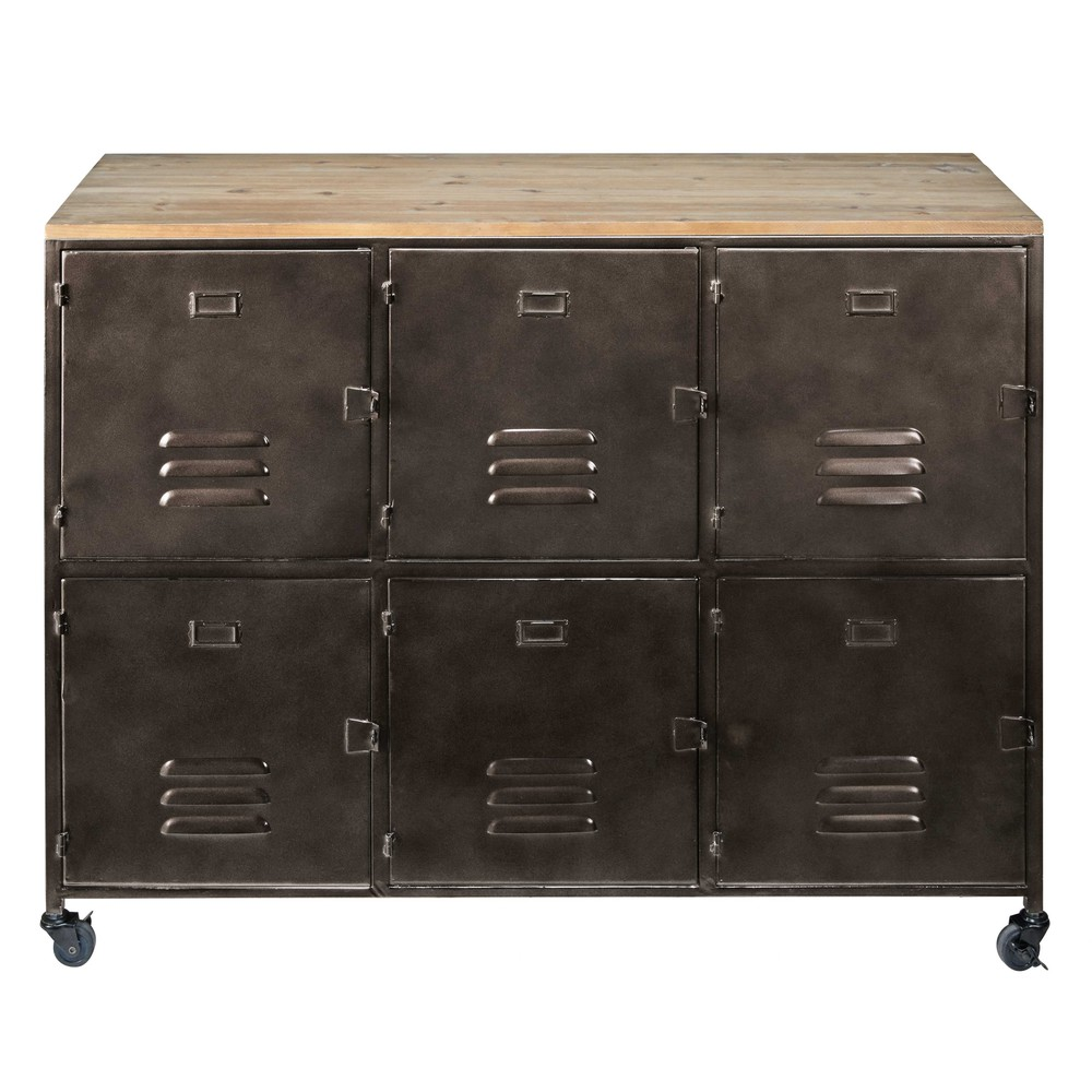 buffet auf rollen mit 6 t ren aus verkupfertem metall und. Black Bedroom Furniture Sets. Home Design Ideas