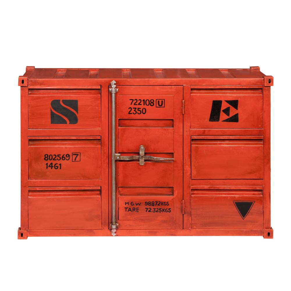 Buffet container en m tal rouge l 134 cm carlingue maisons du monde - Colonne maison du monde ...