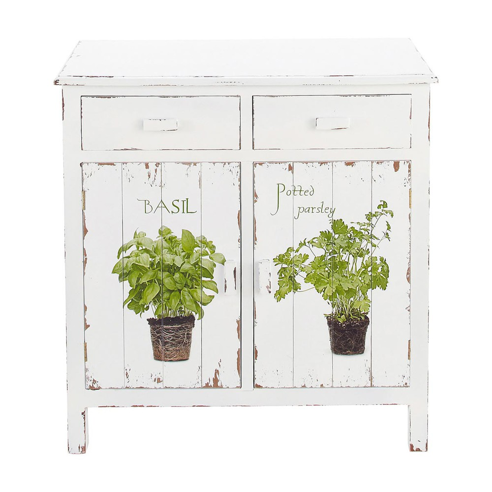 buffet de cuisine en bois blanc l 80 cm aromates maisons. Black Bedroom Furniture Sets. Home Design Ideas