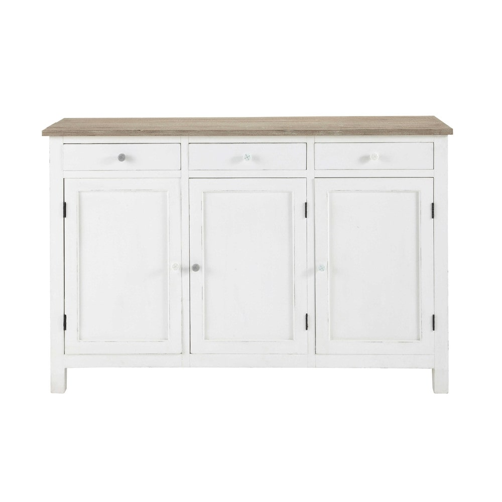 Buffet en bois blanc l 135 cm bloom maisons du monde for Maison du monde credenze