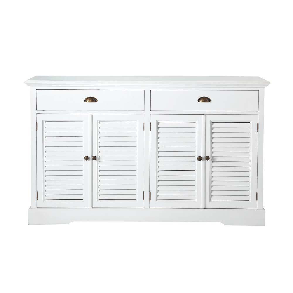 buffet en bois blanc l 150 cm barbade maisons du monde. Black Bedroom Furniture Sets. Home Design Ideas