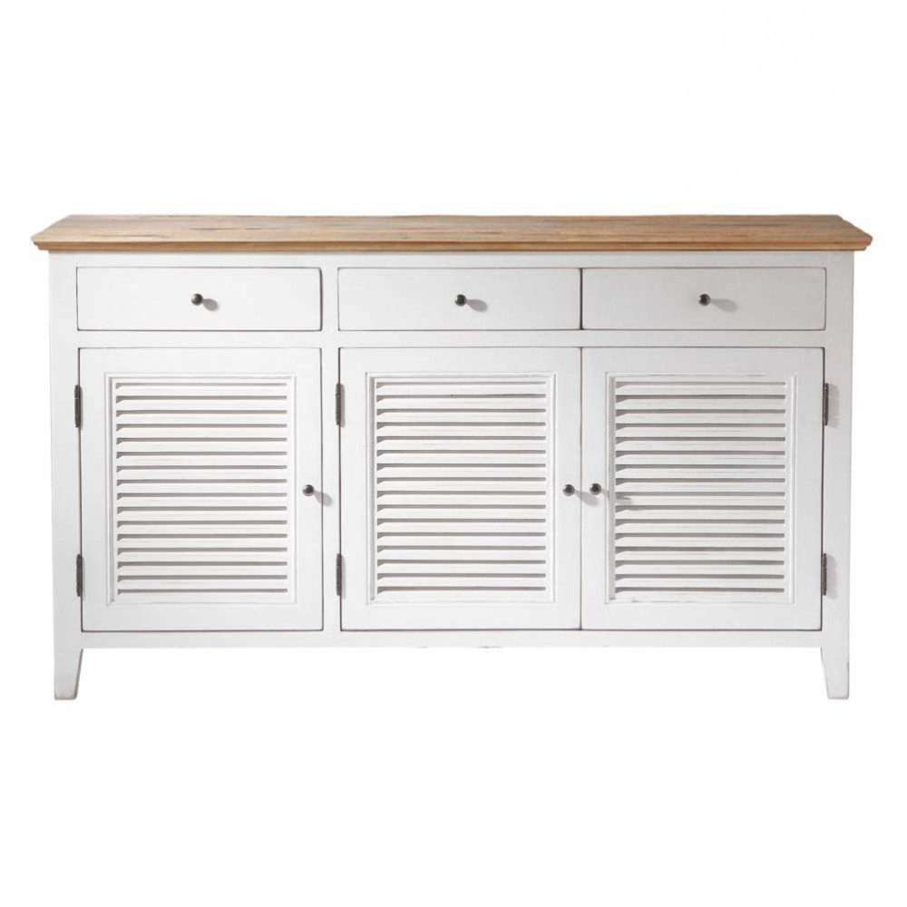 buffet en bois blanc l 150 cm sologne maisons du monde. Black Bedroom Furniture Sets. Home Design Ideas