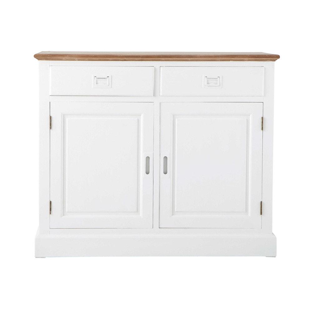 buffet en bois de paulownia blanc l 100 cm leandre maisons du monde. Black Bedroom Furniture Sets. Home Design Ideas