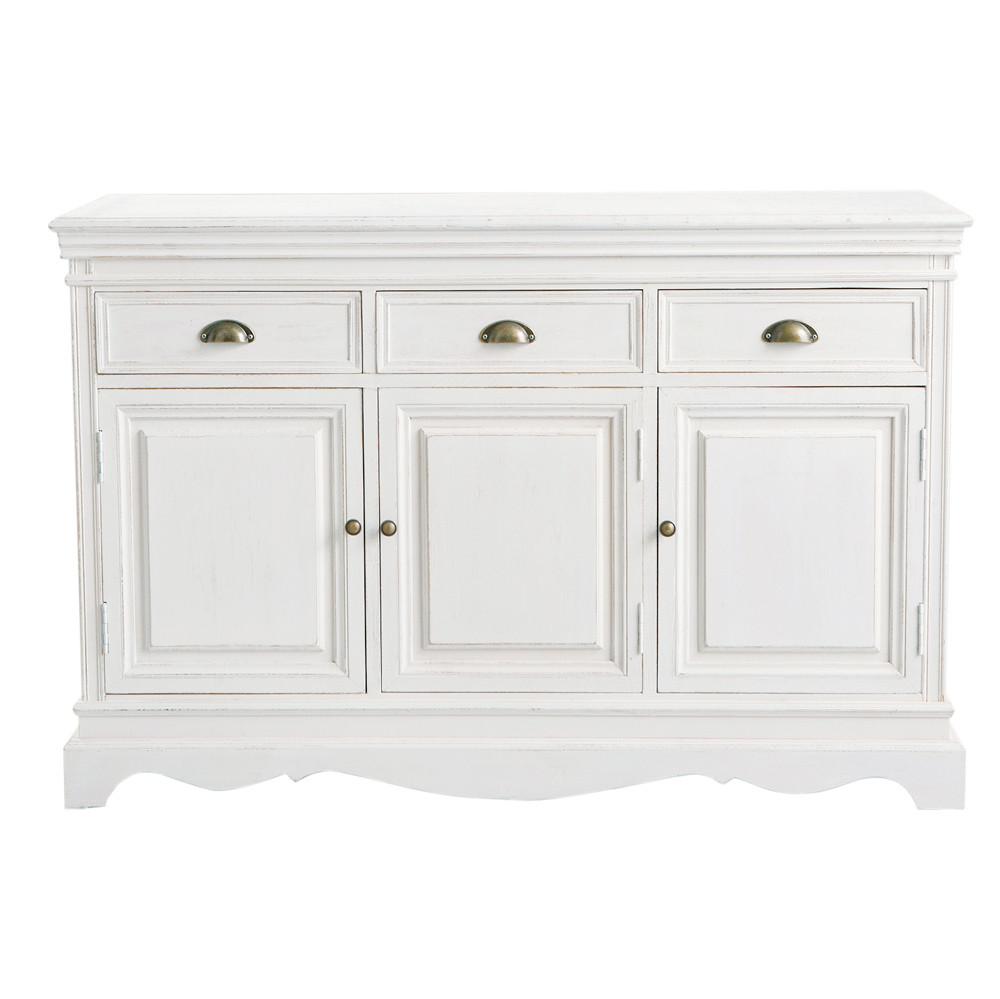 Buffet en bois de paulownia blanc l 131 cm jos phine maisons du monde - Buffet en bois blanc ...
