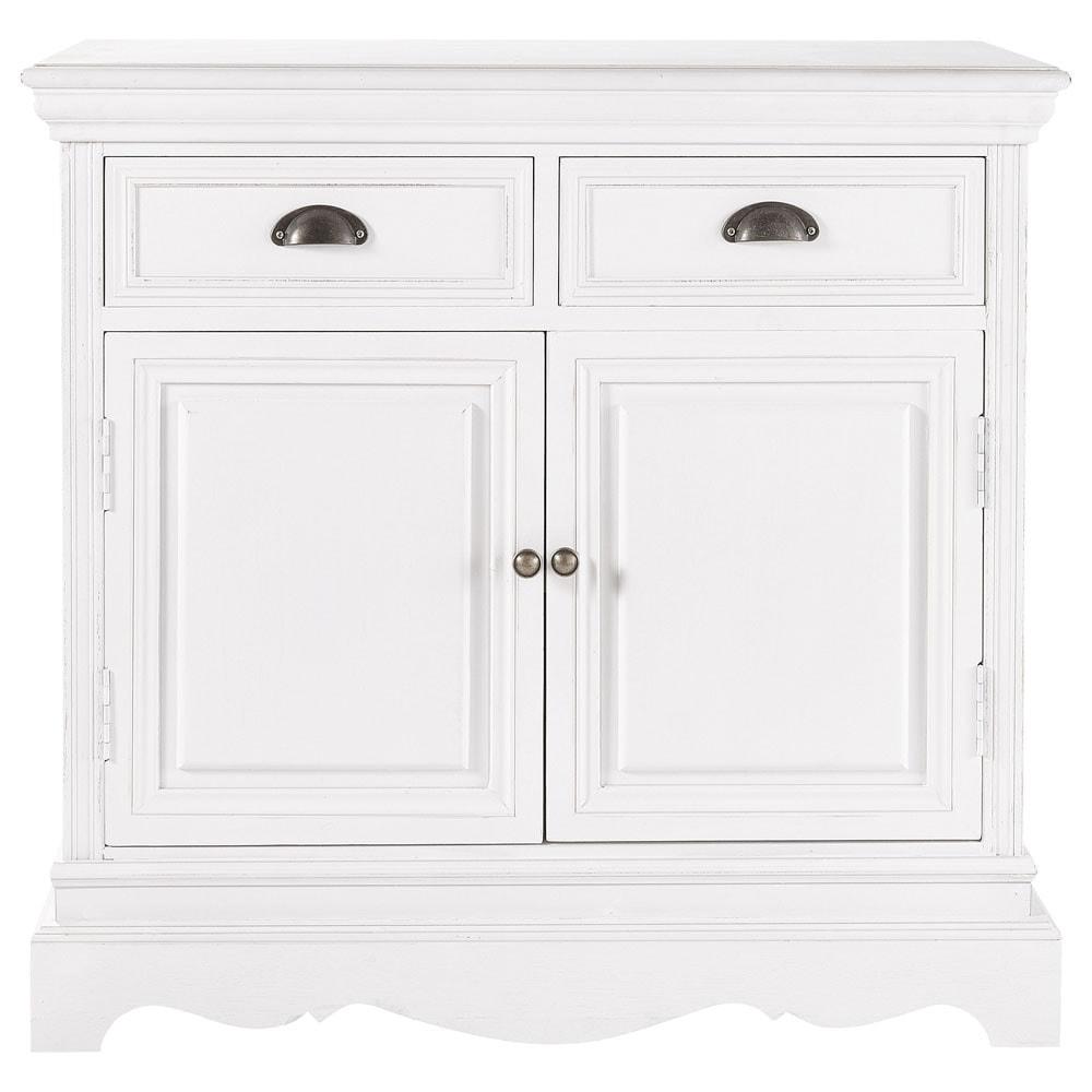 buffet en bois de paulownia blanc l 86 cm jos phine. Black Bedroom Furniture Sets. Home Design Ideas