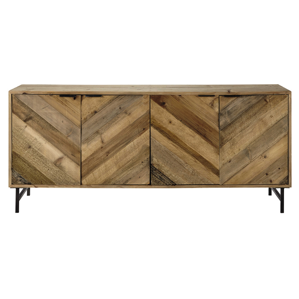 buffet en bois de pin recycl l 175 cm chevron maisons du monde. Black Bedroom Furniture Sets. Home Design Ideas