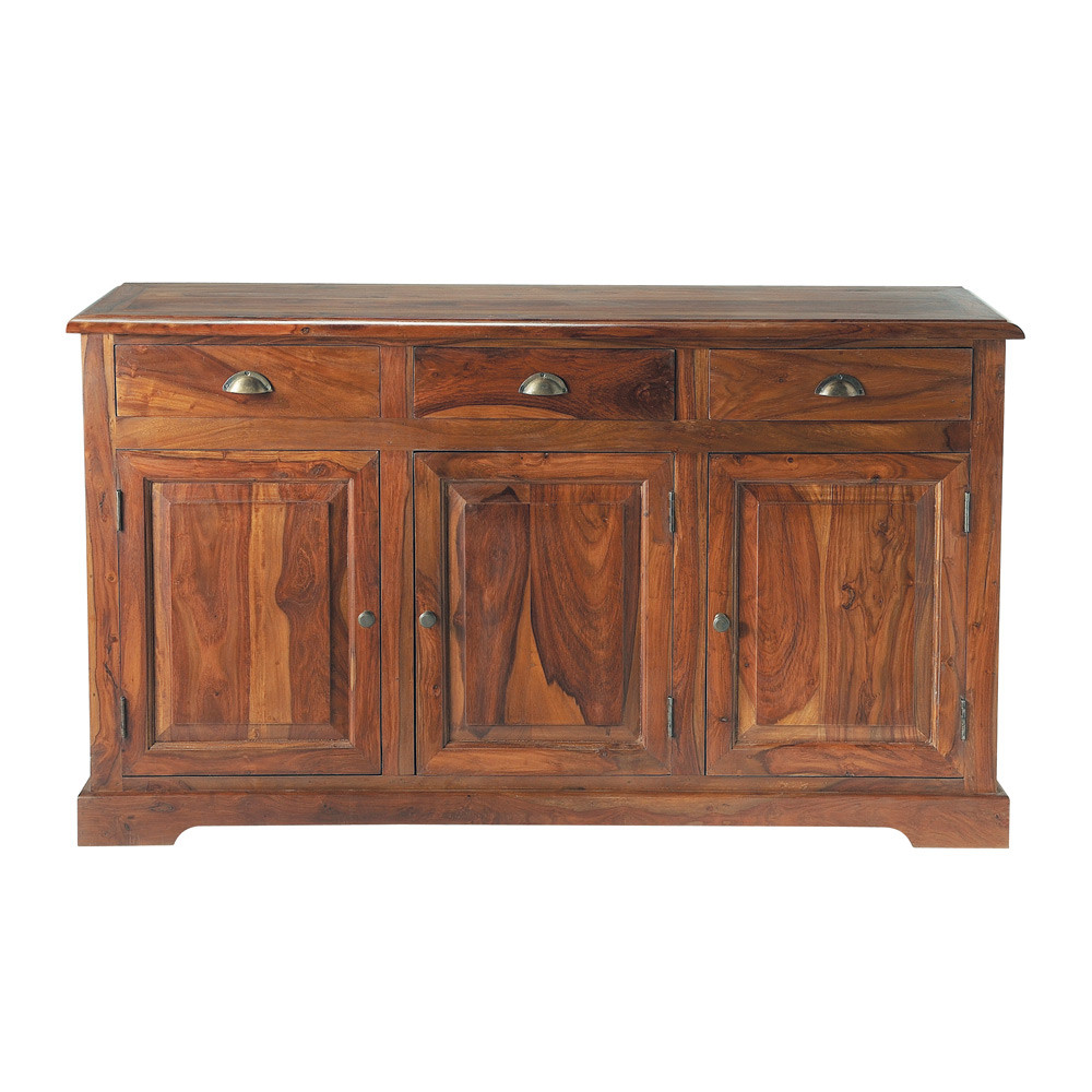 Buffet en bois de sheesham massif teint l 150 cm luberon for Le mousquetaire du meuble