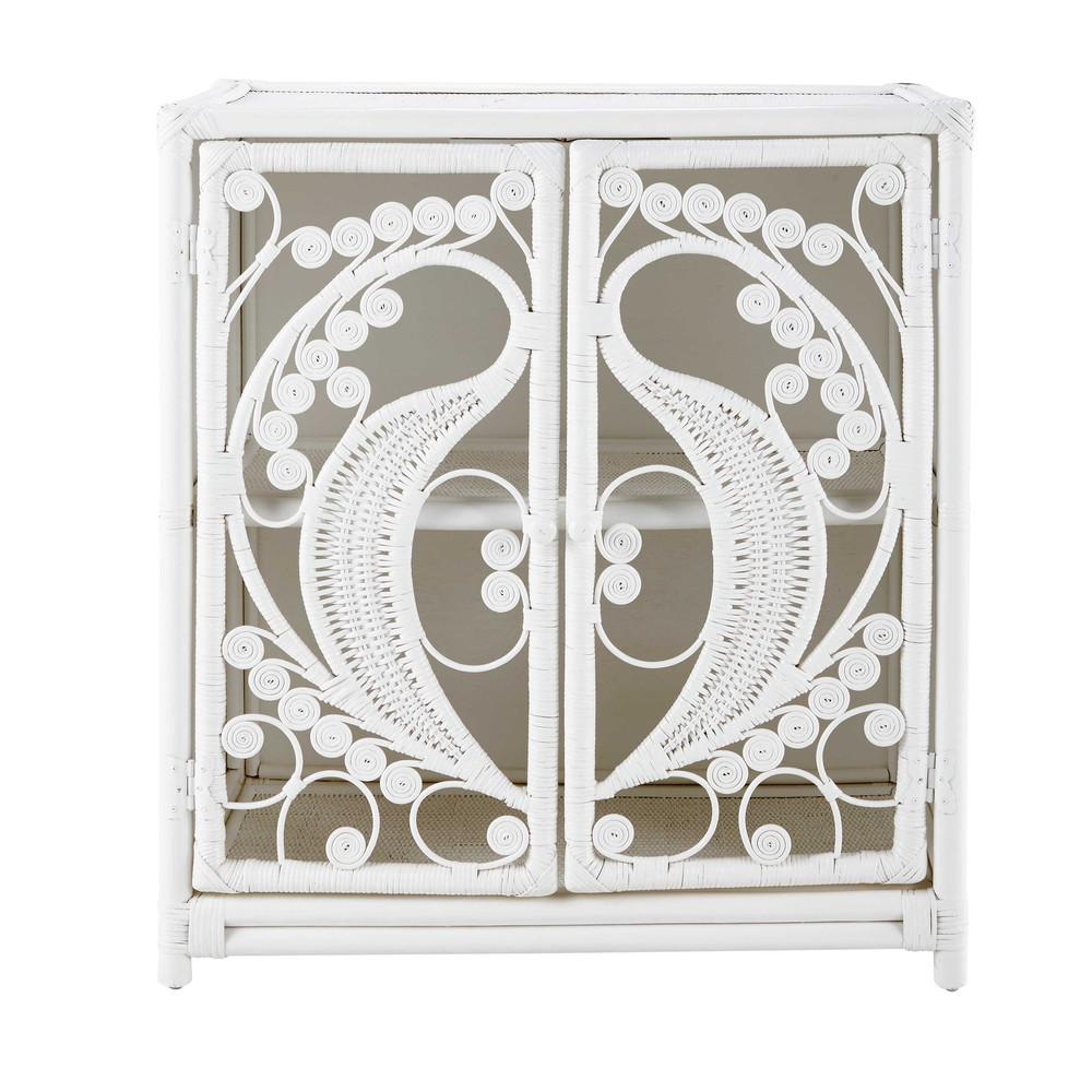 buffet en bois et rotin blanc l 80 cm peacock maisons du. Black Bedroom Furniture Sets. Home Design Ideas