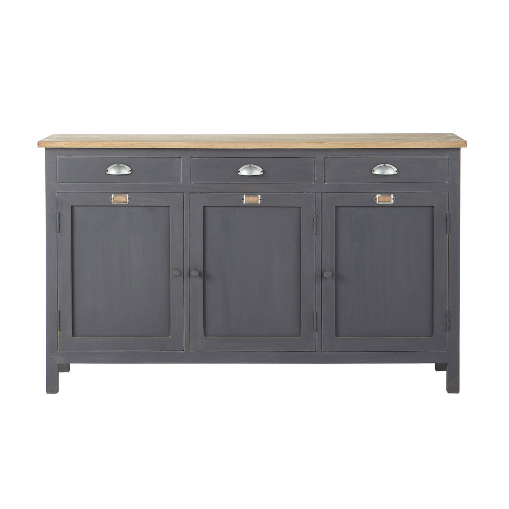 buffet en bois gris l 138 cm chablis maisons du monde. Black Bedroom Furniture Sets. Home Design Ideas