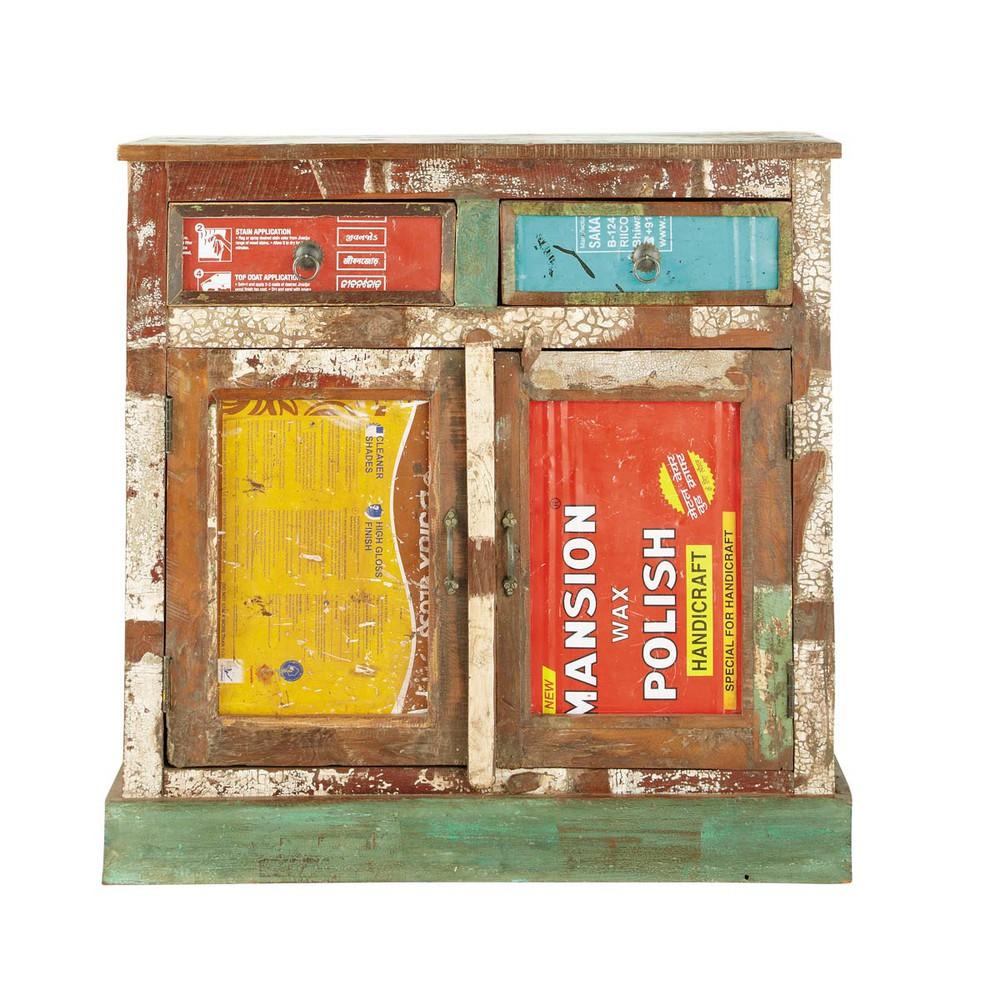 Buffet en bois recycl multicolore l 90 cm r cup maisons - Buffet industriel maison du monde ...