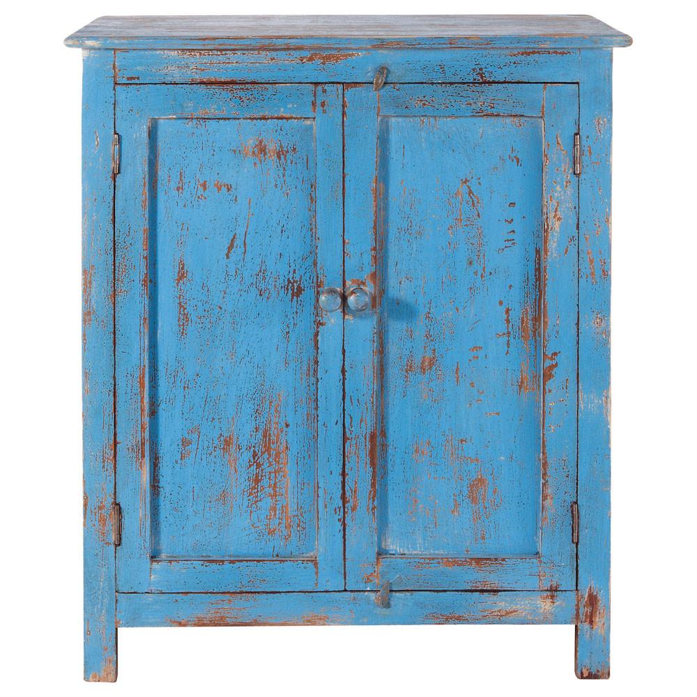 Buffet en manguier bleu turquoise l 73 cm avignon - Peinture meuble effet vieilli ...