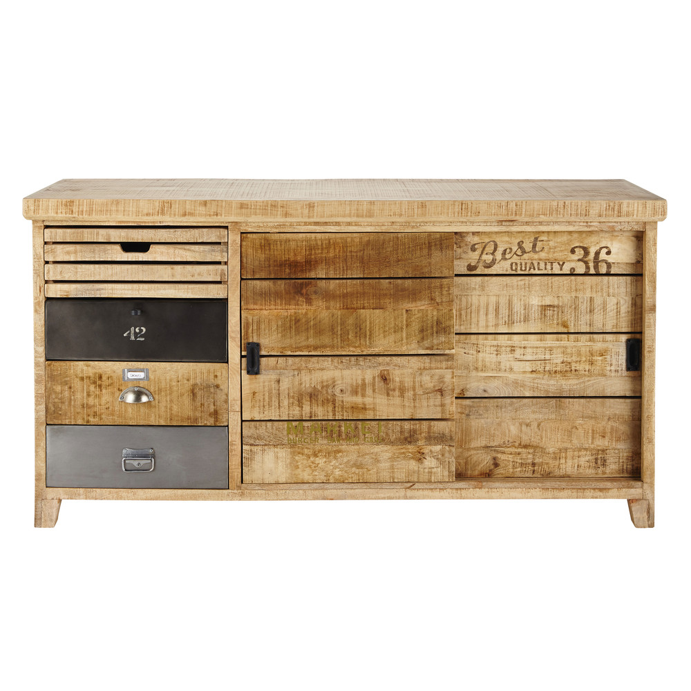 buffet en manguier l 160 cm farmers maisons du monde. Black Bedroom Furniture Sets. Home Design Ideas