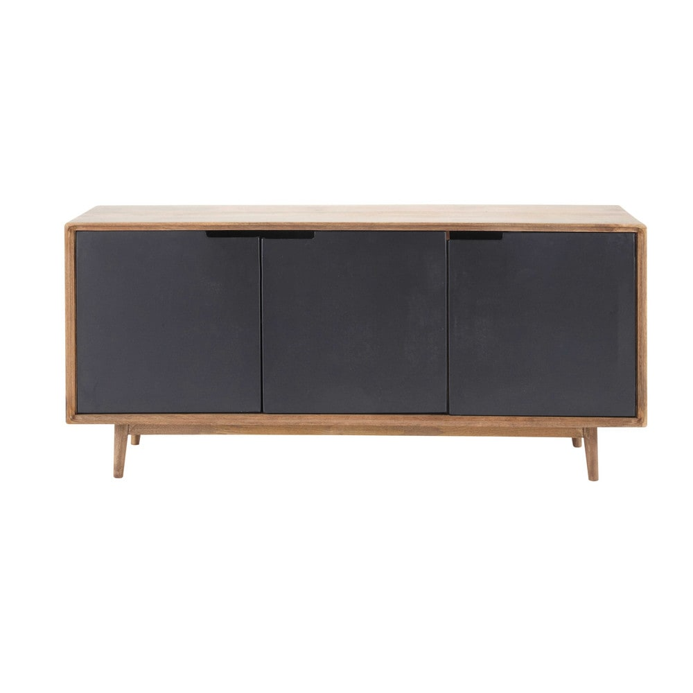 Buffet en manguier massif l 160 cm lenox maisons du monde for Meuble manguier massif