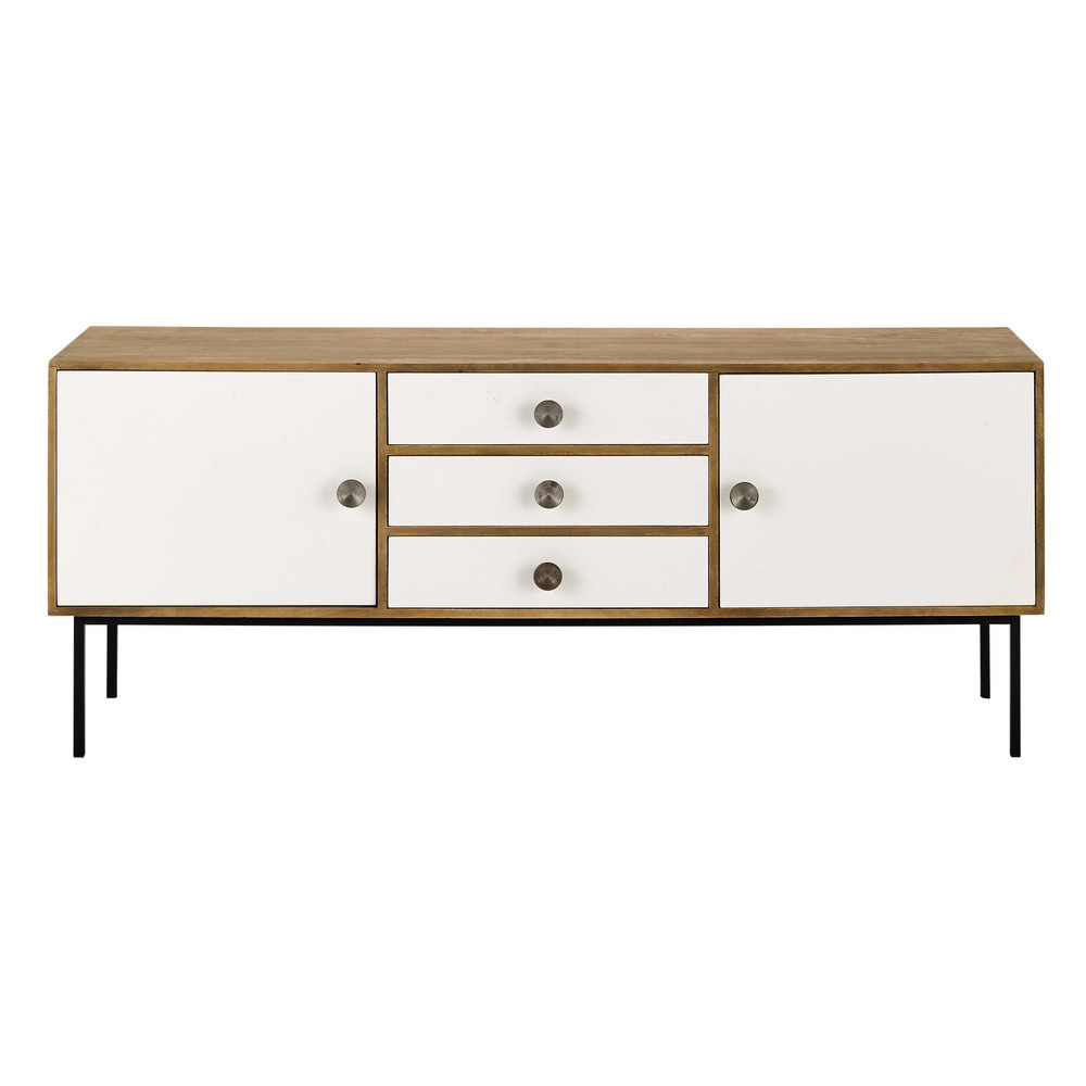 buffet enfilade en manguier blanc l 175 cm seven maisons du monde. Black Bedroom Furniture Sets. Home Design Ideas