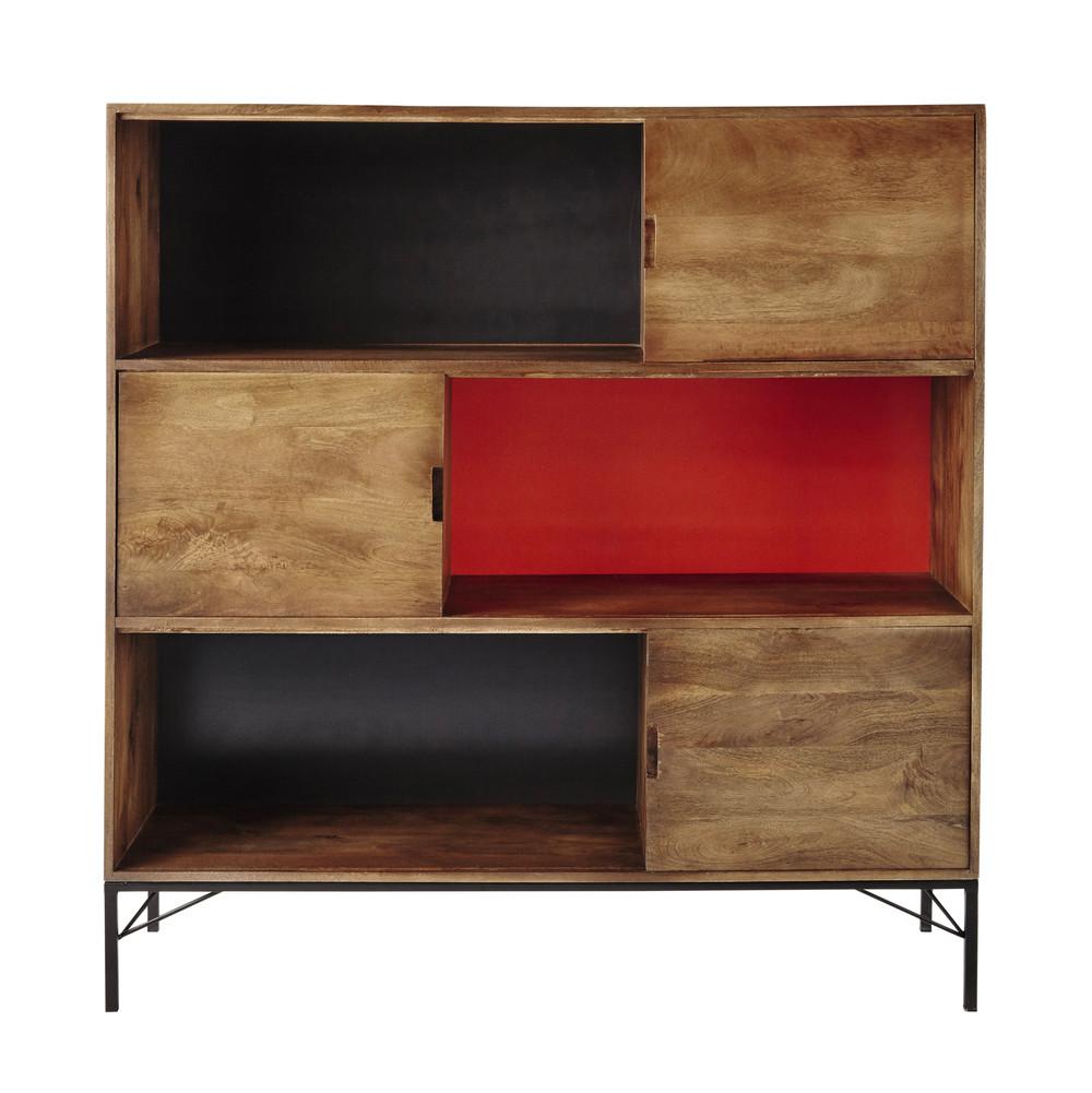 buffet haut en manguier gris orange l 133 cm arty maisons du monde. Black Bedroom Furniture Sets. Home Design Ideas