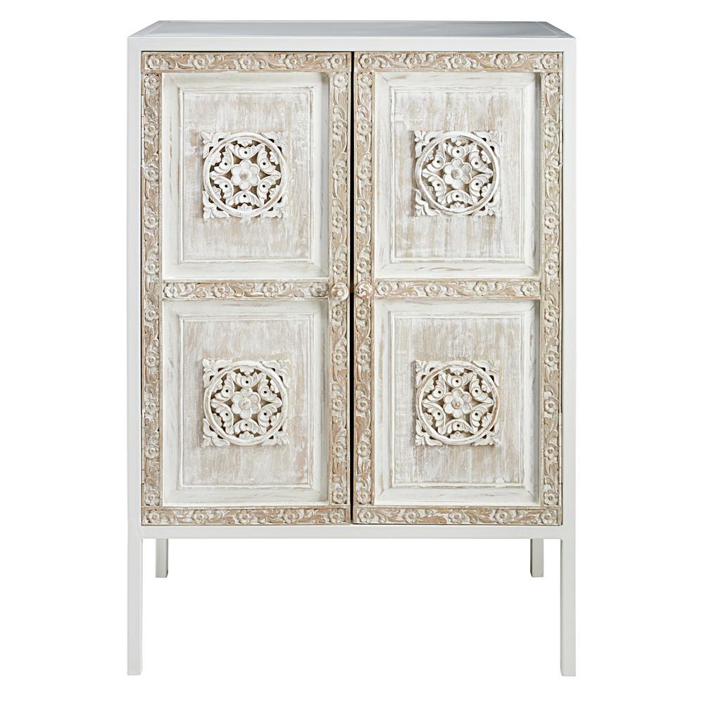 buffet haut en m tal blanc et manguier sculpt mambok maisons du monde. Black Bedroom Furniture Sets. Home Design Ideas