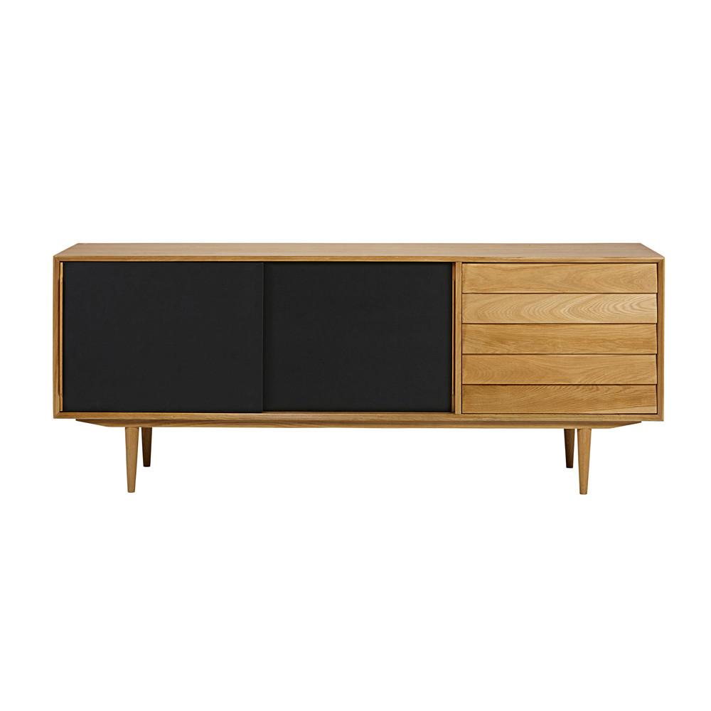 buffet im vintage stil mit 3 t ren schwarz sheffield maisons du monde. Black Bedroom Furniture Sets. Home Design Ideas