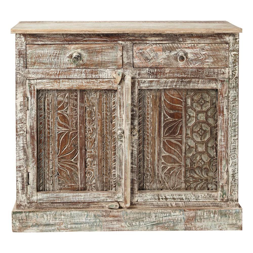 Buffet indien sculpt en bois recycl l 95 cm karma maisons du monde - Rosace en bois sculpte ...