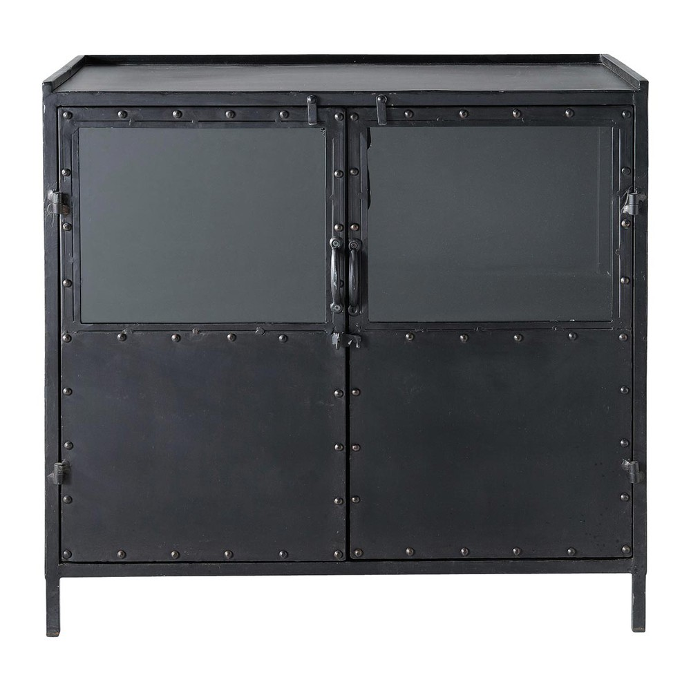 buffet indus vitr en m tal noir l 87 cm edison maisons du monde. Black Bedroom Furniture Sets. Home Design Ideas