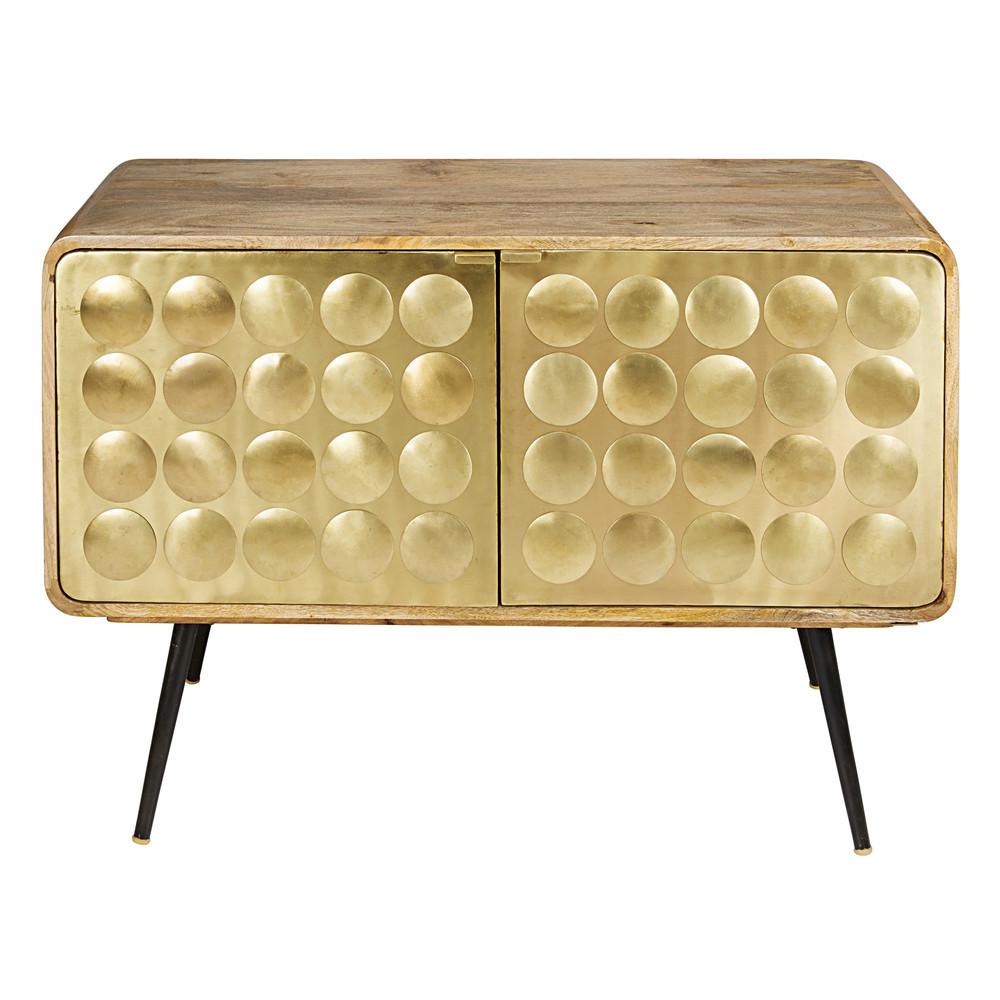 buffet mit 2 t ren aus massivem mangoholz und metall mit vergoldetem effekt gatsby maisons du. Black Bedroom Furniture Sets. Home Design Ideas