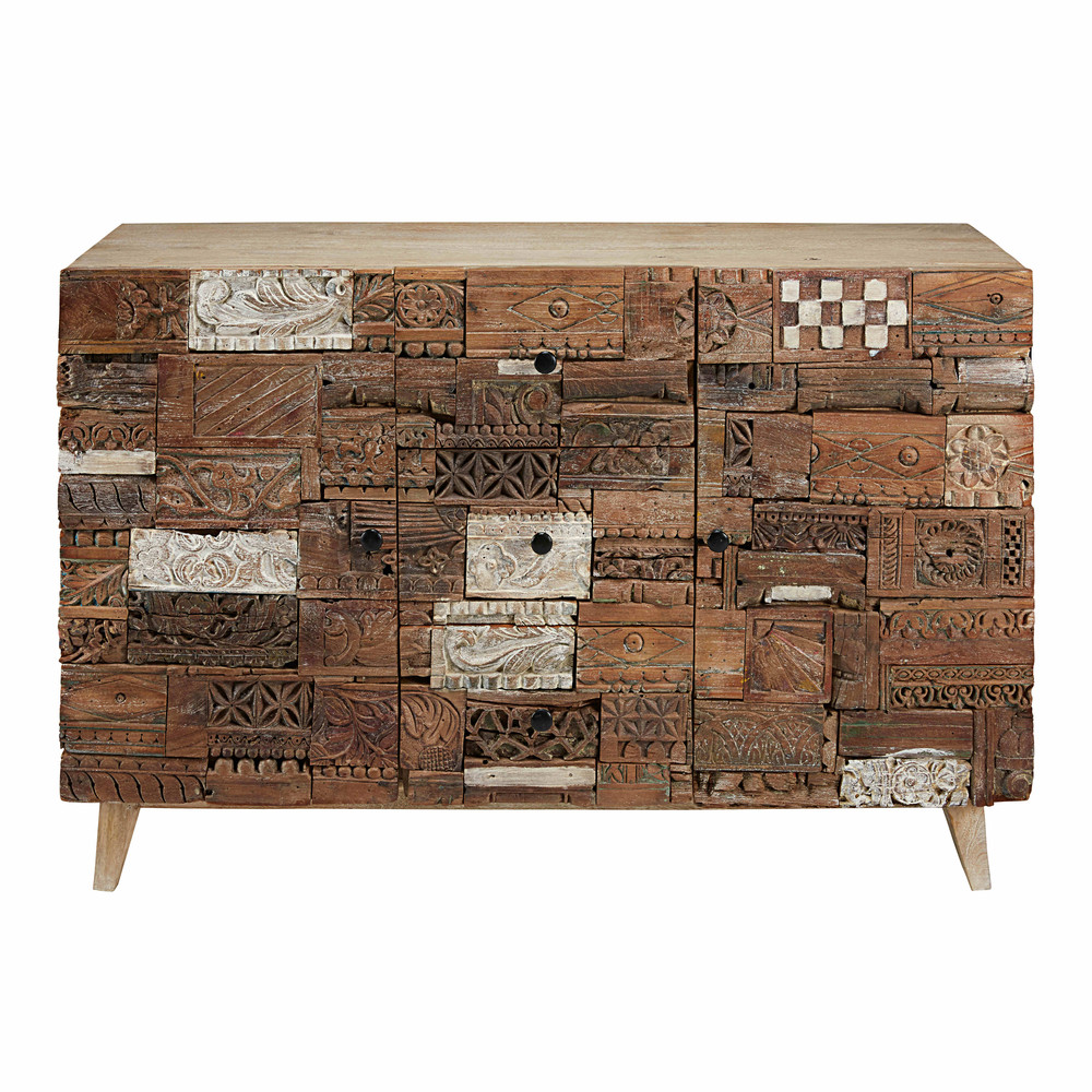 buffet sculpt 2 portes 3 tiroirs en bois recycl itza maisons du monde. Black Bedroom Furniture Sets. Home Design Ideas