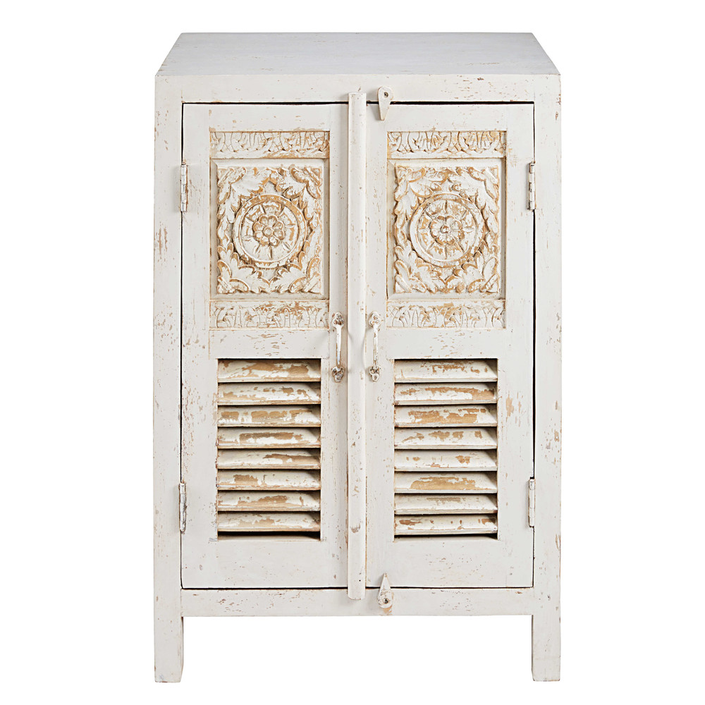 buffet sculpt 2 portes en manguier blanc patin salvador maisons du monde. Black Bedroom Furniture Sets. Home Design Ideas