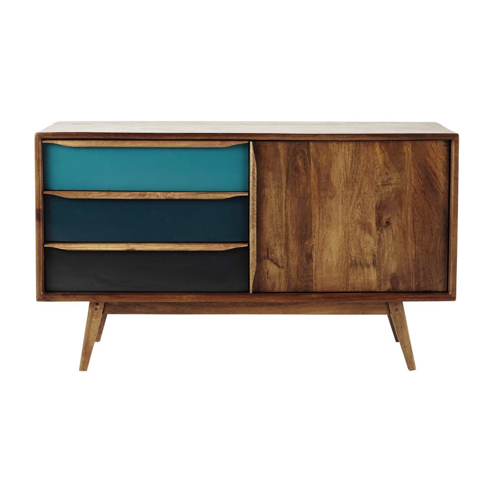 buffet vintage en manguier bleu l 127 cm janeiro maisons. Black Bedroom Furniture Sets. Home Design Ideas