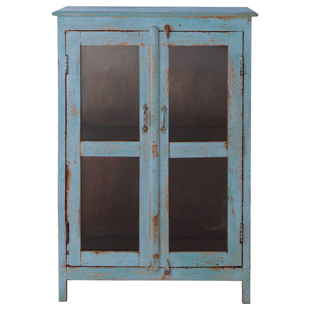 buffet vitr bleu gris avignon maisons du monde. Black Bedroom Furniture Sets. Home Design Ideas